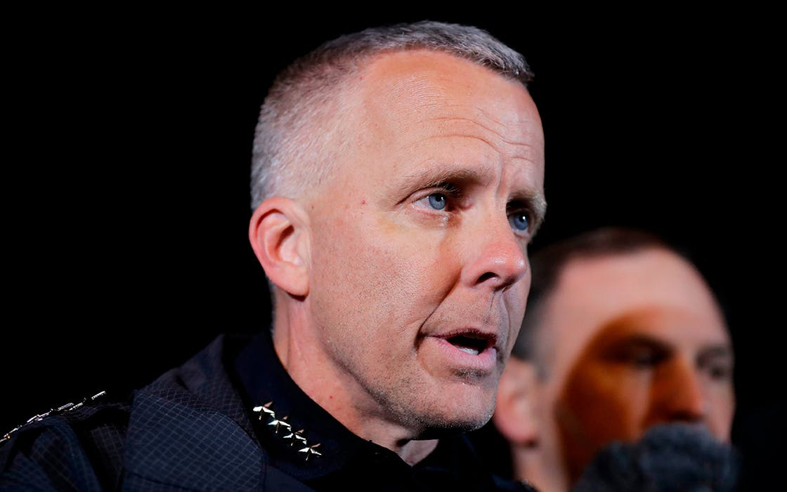 In this March 21, 2018 file photo, Austin's interim Police Chief Brian Manley briefs the media in the Austin suburb of Round Rock.