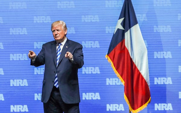 President Donald Trump greets supporters at the NRA-ILA Leadership Forum during the NRA Annual Meeting & Exhibits on May 4, 2018 in Dallas.