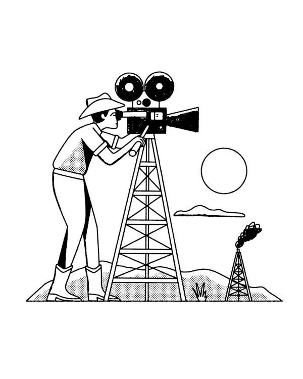 Man shooting film on oil pump