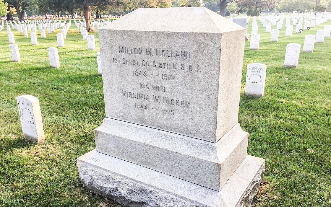 Milton M. Holland's headstone in Arlington National Cemetery in Arlington, Virginia.