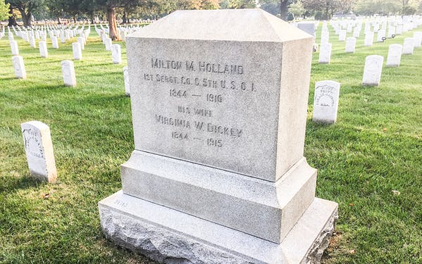 Milton M. Holland's headstone in Arlington National Cemetery in Arlington, Virginia.