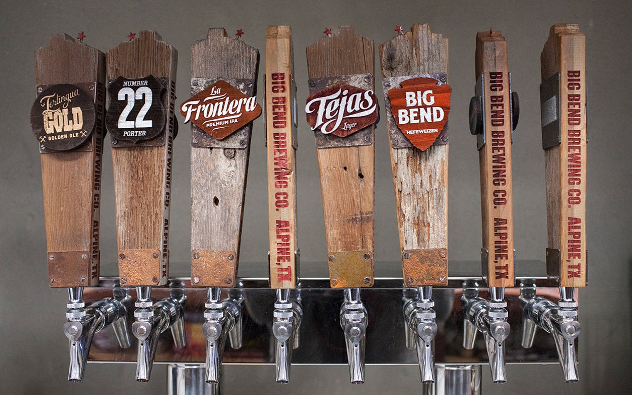 Tap handles in Big Bend Brewing Company's tasting room in Alpine. The brewing company's National Park Hefeweizen was one of several Texas winners at the World Beer Cup in Nashville, Tennessee.