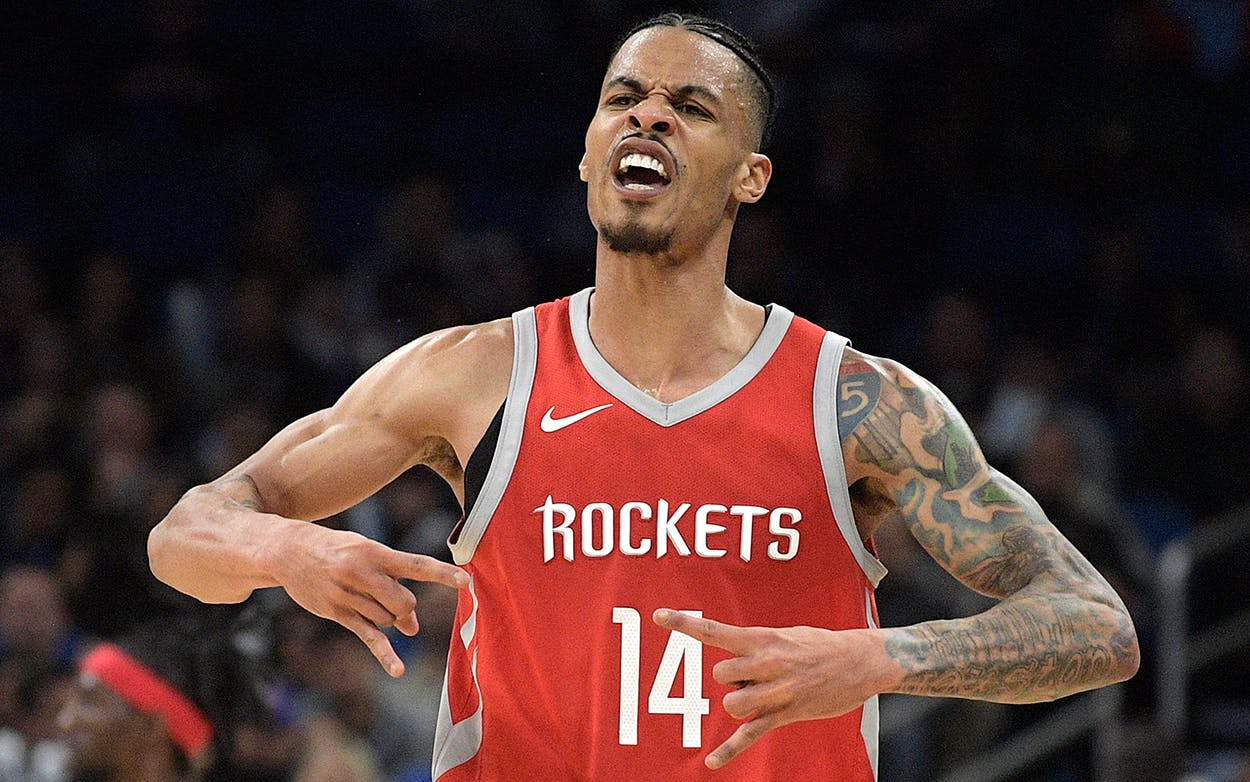 Houston Rockets guard Gerald Green (14) celebrates after scoring a 3-point basket during the second half of an NBA basketball game against the Orlando Magic, Wednesday, Jan. 3, 2018, in Orlando, Fla.
