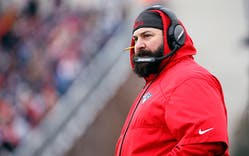 Matt Patricia looks on during the first half of a New England Patriots game against the New York Jets at Gillette Stadium on December 31, 2017 in Foxboro, Massachusetts. Patricia was named as the new head coach for the Detroit Lions on February 5, 2018.