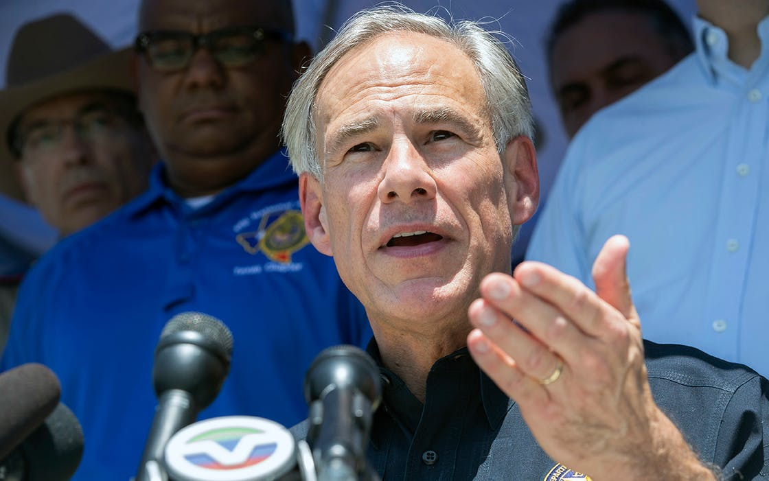 Texas Governor Greg Abbott speaks during a press conference in the wake of a school shooting at Santa Fe High School on Friday, May 18, 2018 in Santa Fe, Texas.