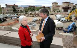 UTEP president Diana Natalicio talks with Wallace Hall, Jr., a UT system regent as they viewed the ongoing construction on the center of the UTEP campus Thursday, Nov. 6, 2014 in El Paso.