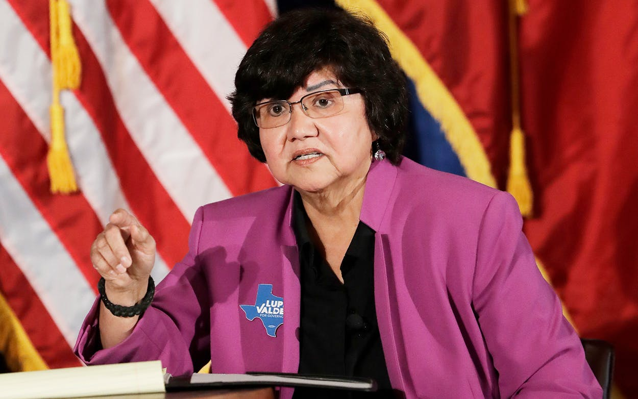 Texas Democratic gubernatorial candidate Lupe Valdez takes part in a debate with Andrew White, Friday, May 11, 2018, in Austin ahead of the state's May 22 primary runoff election.
