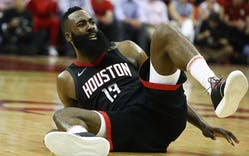James Harden #13 of the Houston Rockets reacts in the second quarter of Game Seven of the Western Conference Finals of the 2018 NBA Playoffs at Toyota Center against the Golden State Warriors on May 28, 2018 in Houston.