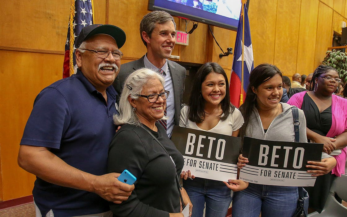 Rep. Beto O'Rourke, D-Texas takes a photo with supporters during a town hall meeting March 22, 2018, at Texas Southern University in Houston.