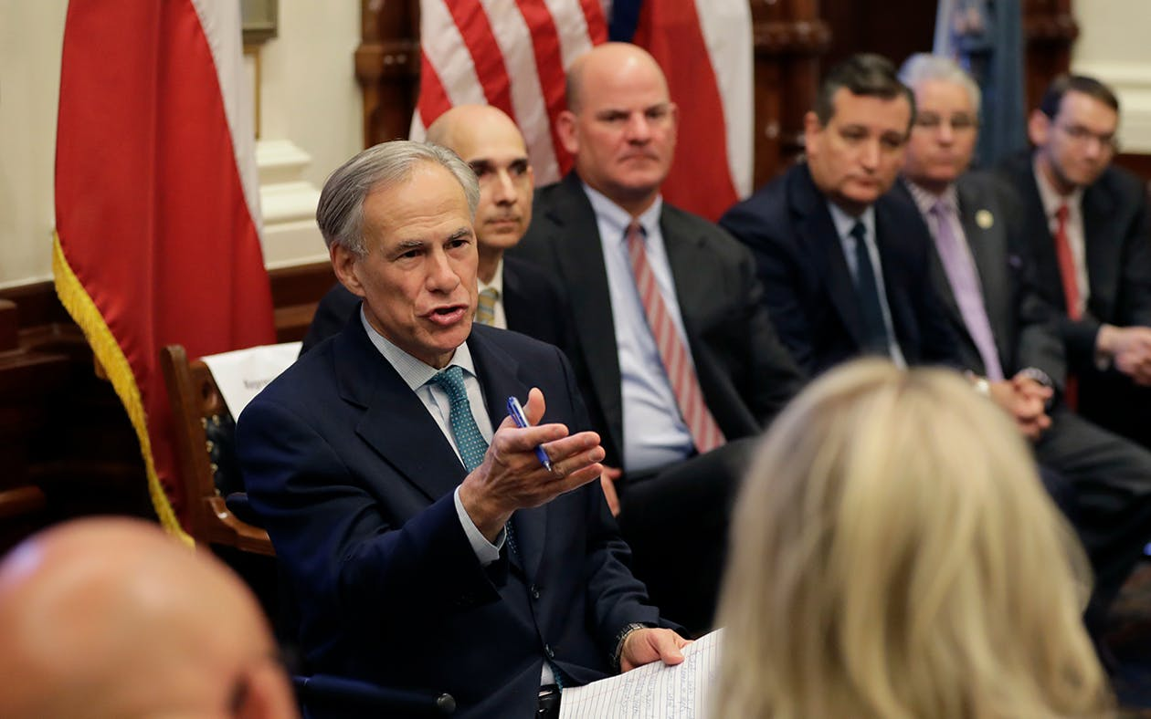 Texas Gov. Gregg Abbott, left, hosts a roundtable discussion in Austin, Thursday, May 24, 2018, to address safety and security at Texas schools in the wake of the shooting at Santa Fe, Texas. Thursday's roundtable included victims, students, families and educators from the Santa Fe, Alpine and Sutherland Springs communities.