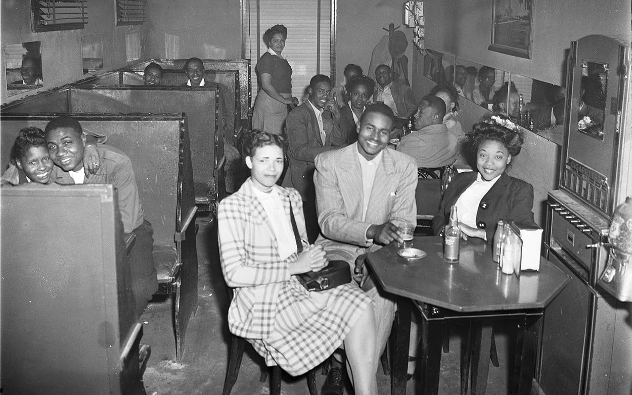 Dallas's Beaumont Barbeque, as shown in 1947, was one of only two barbecue joints in Texas to be included in editions of The Negro Motorist Green Book in the late 1930s.