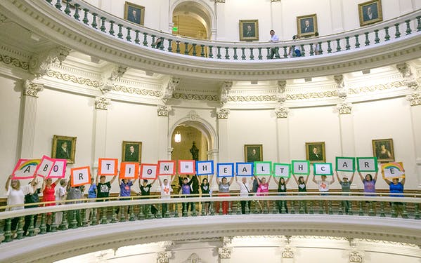Representatives of the Trust, Respect, Access Coalition gathered in the Texas Capitol Rotunda Thursday afternoon July 27, 2017 to voice their opposition to abortion legislation being considered by the Texas House, Thursday, July 27, 2017 in Austin.