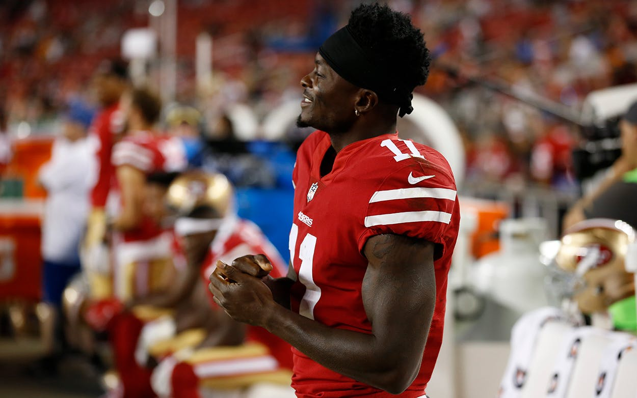 San Francisco 49ers wide receiver Marquise Goodwin (11) is seen on the sideline during an NFL preseason football game against the Denver Broncos, Aug. 19, 2017, in Santa Clara, Calif.