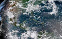 The Saharan dust over Texas, which appears as a brown haze in this image, can be seen as far west as Midland and as far north as Fort Worth. This GOES-16 satellite imagery is created by combining 3 visible channels that simulate what the Earth would look like with human eyes from space.