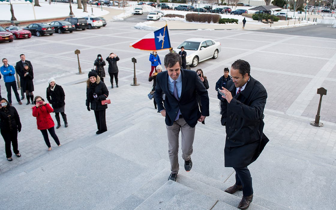 Rep. Beto O'Rourke, D-Texas, left, and Rep. Will Hurd, R-Texas, took a bipartisan road trip.