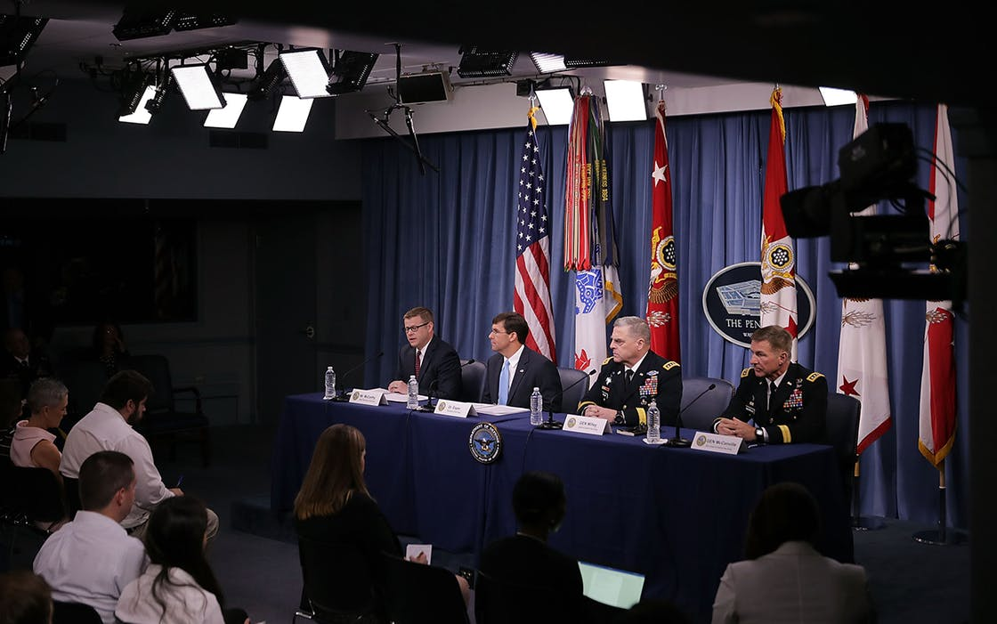 Army Undersecretary Ryan McCarthy, U.S. Army Secretary Mark Esper, Army Chief of Staff Gen. Mark Milley and Army Vice Chief of Staff Gen. James McConville announce that Austin will be the new headquarters for the Army Futures Command during a news conference at the Pentagon July 13, 2018 in Arlington, Virginia.