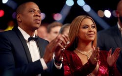 Jay Z and Beyonce attend The 59th GRAMMY Awards at STAPLES Center on February 12, 2017 in Los Angeles, California.
