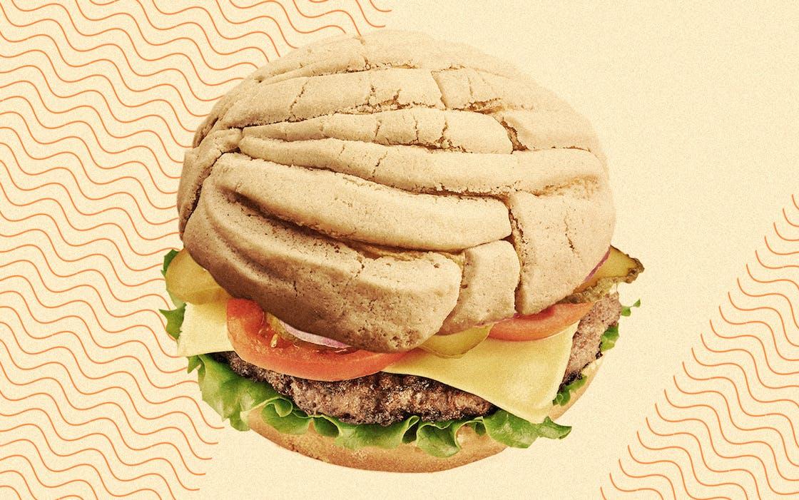 Concha cheeseburger