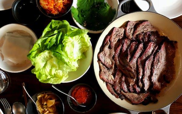 Sliced beef rib at Majordomo.