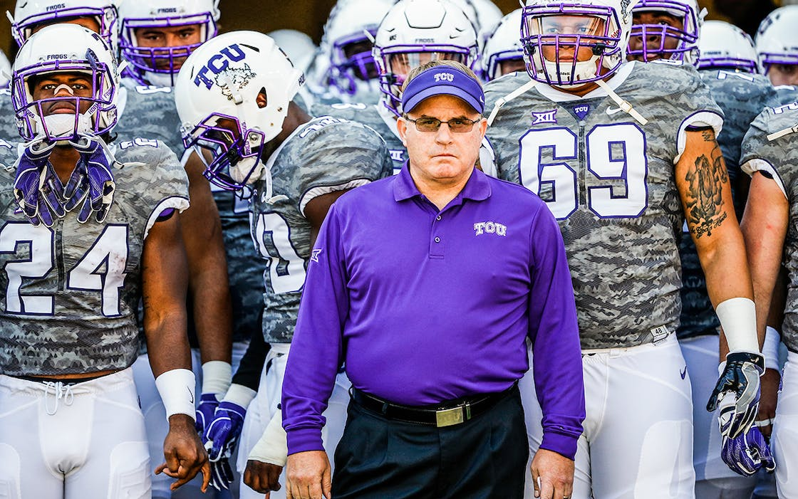 Head coach Gary Patterson of the TCU Horned Frogs waits with his team before taking on the Iowa State Cyclones at Amon G. Carter Stadium on September 17, 2016 in Fort Worth.