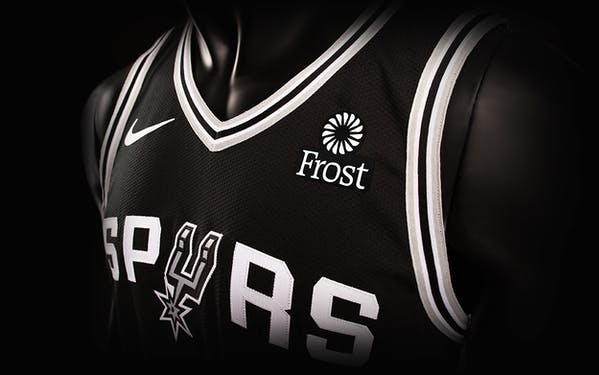 The Spurs players' 2018 jerseys will debut on October 17 with a new partner logo for San Antonio-based Frost Bank.