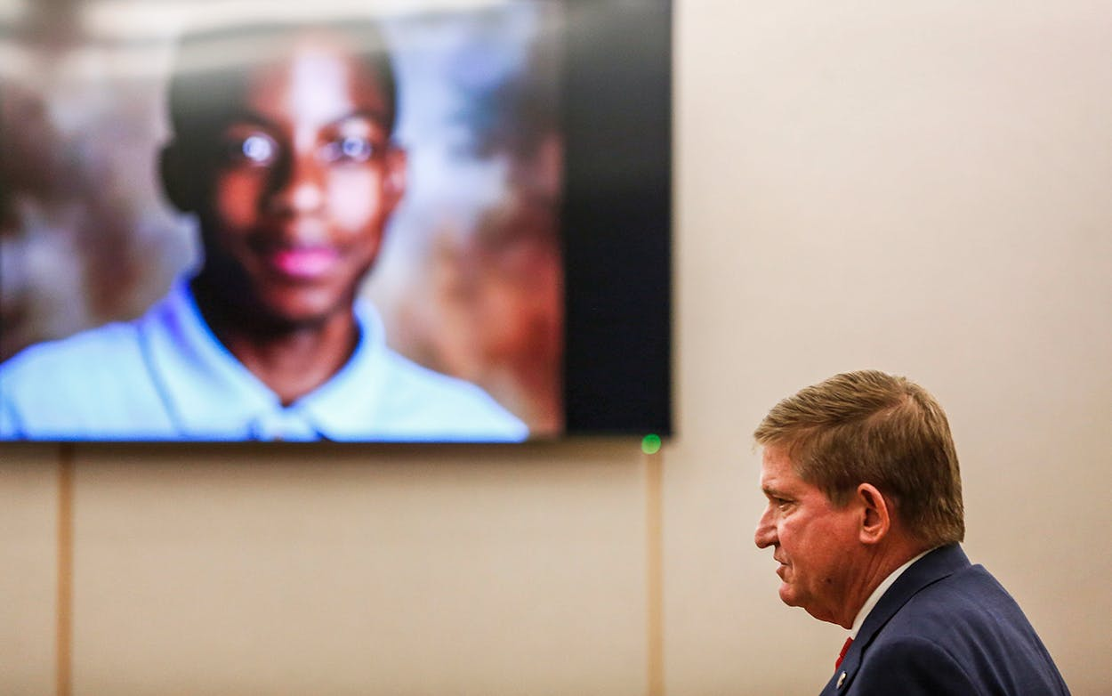 Lead prosecutor Michael Snipes gives a closing argument during the eighth day of the trial of fired Balch Springs police officer Roy Oliver, who is charged with the murder of 15-year-old Jordan Edwards, in Dallas on August 27, 2018.