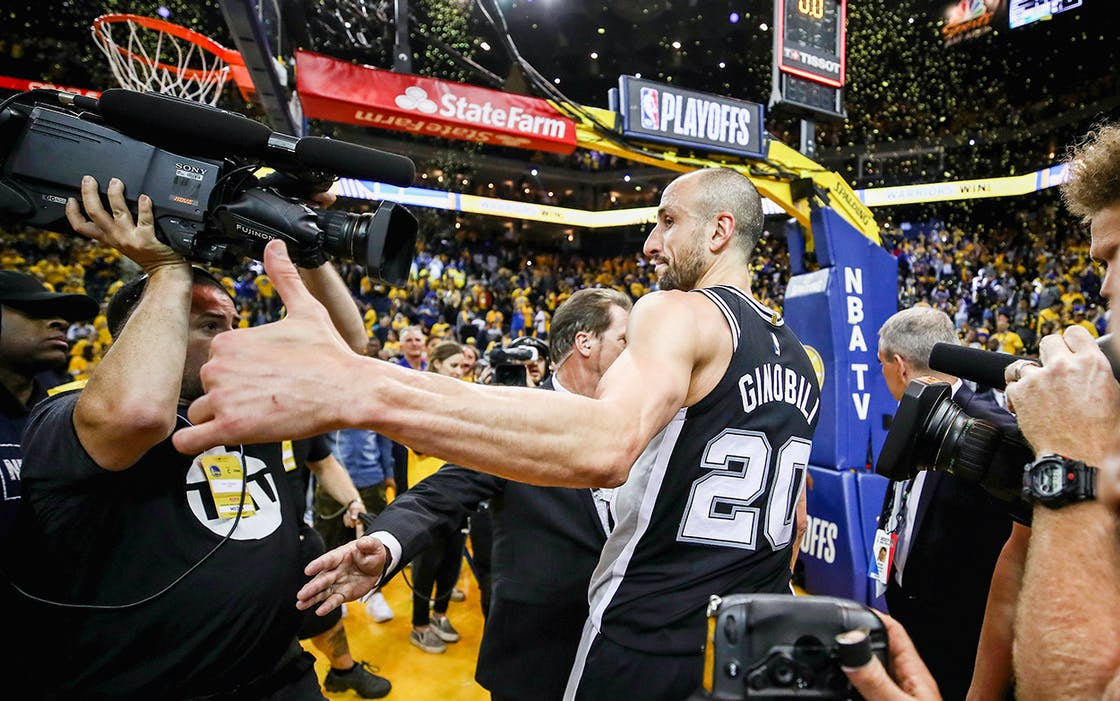 Manu Ginobili #20 of the San Antonio Spurs leaves the court after their loss to the Golden State Warriors in Game Five of Round One of the 2018 NBA Playoffs on April 24, 2018 in Oakland, California.