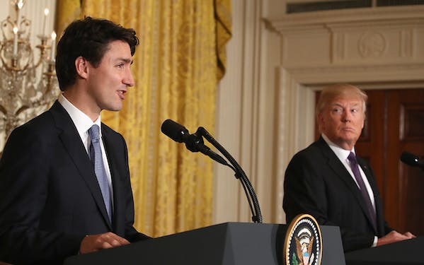 U.S. President Donald Trump (R) and Canadian Prime Minister Justin Trudeau participate in a joint news conference on February 13, 2017 in Washington, DC.