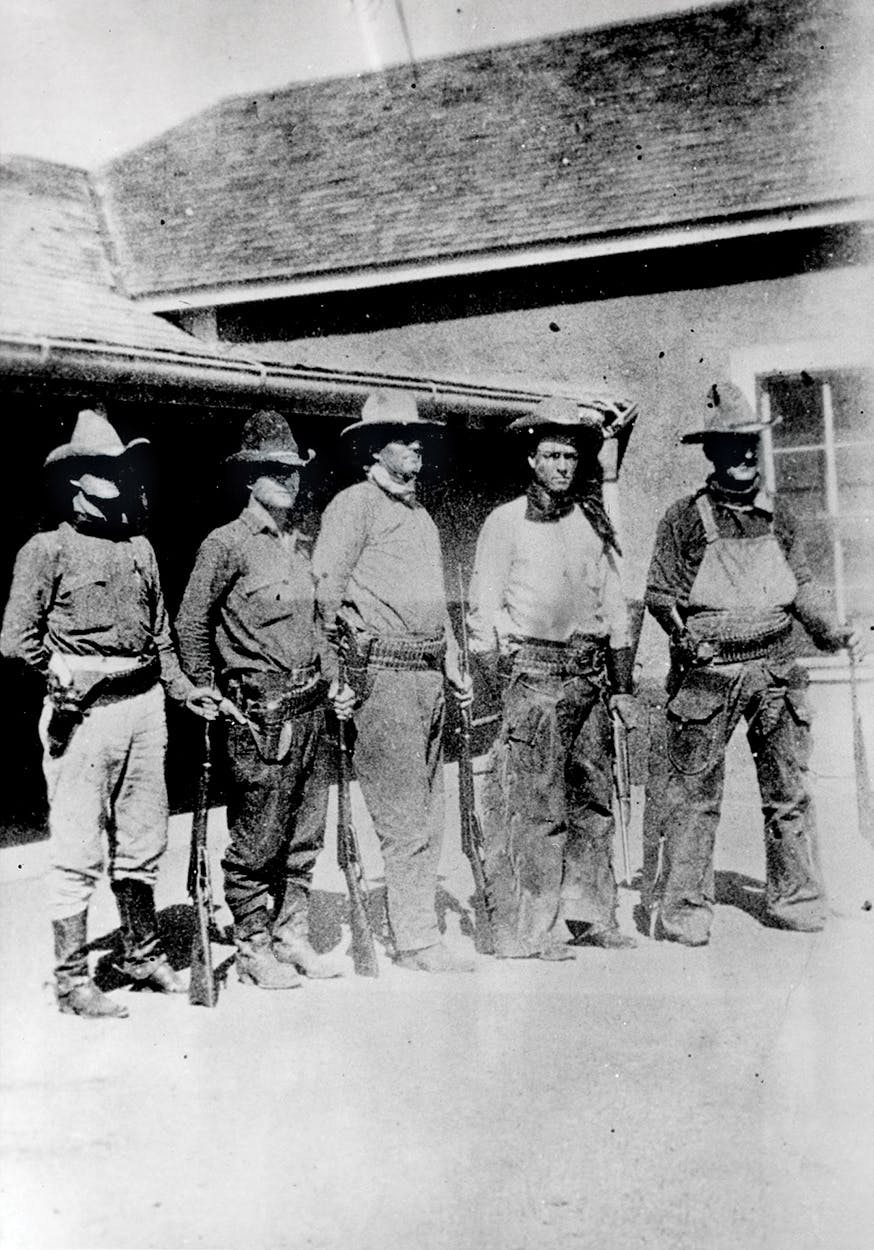 Five Texas Rangers outside of the Brite Ranch, near Marfa, in 1918.