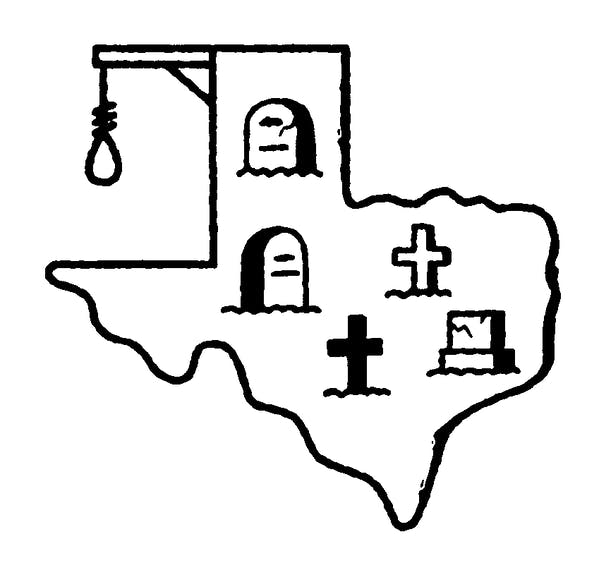 illustration showing the violent history of the state of Texas.