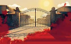 illustration showing the entrance to an exclusive gated community