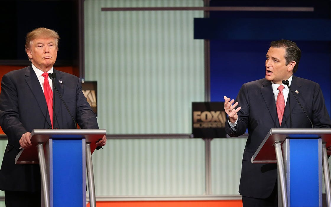 Then Republican presidential candidates (L-R) Donald Trump and Sen. Ted Cruz (R-TX) participate in the Fox Business Network Republican presidential debate on January 14, 2016 in North Charleston, South Carolina.