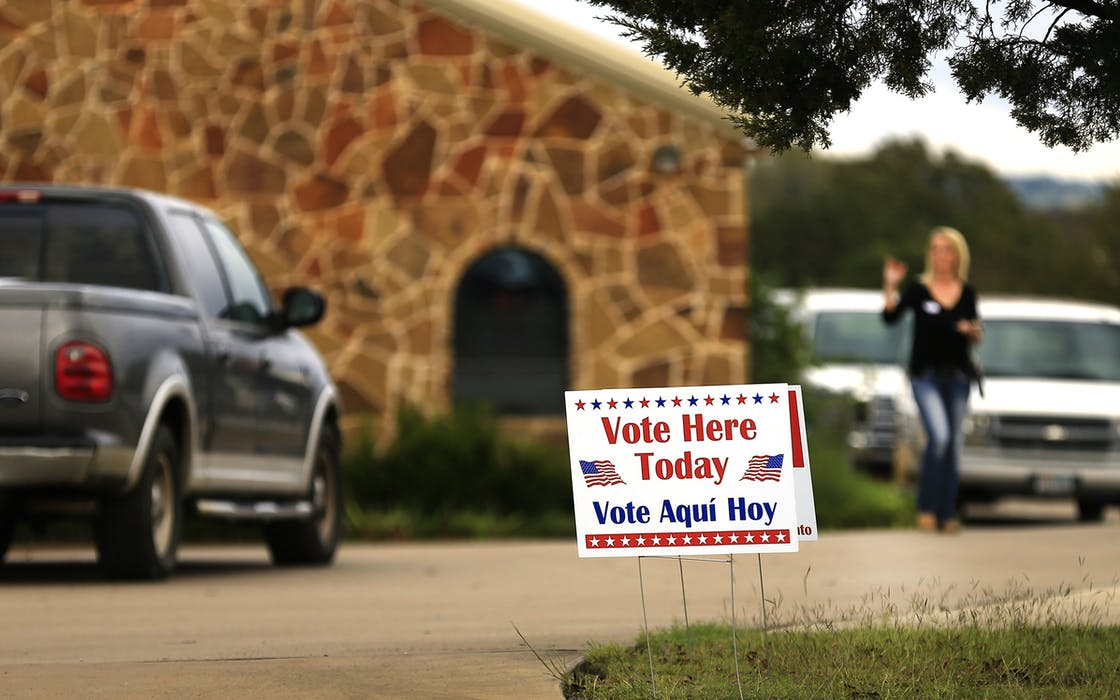 Voting signs in Texas