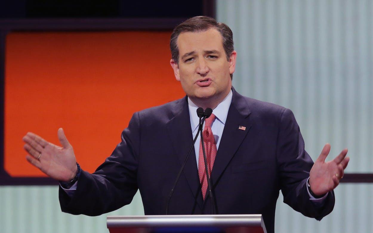 Ted Cruz at a debate podium