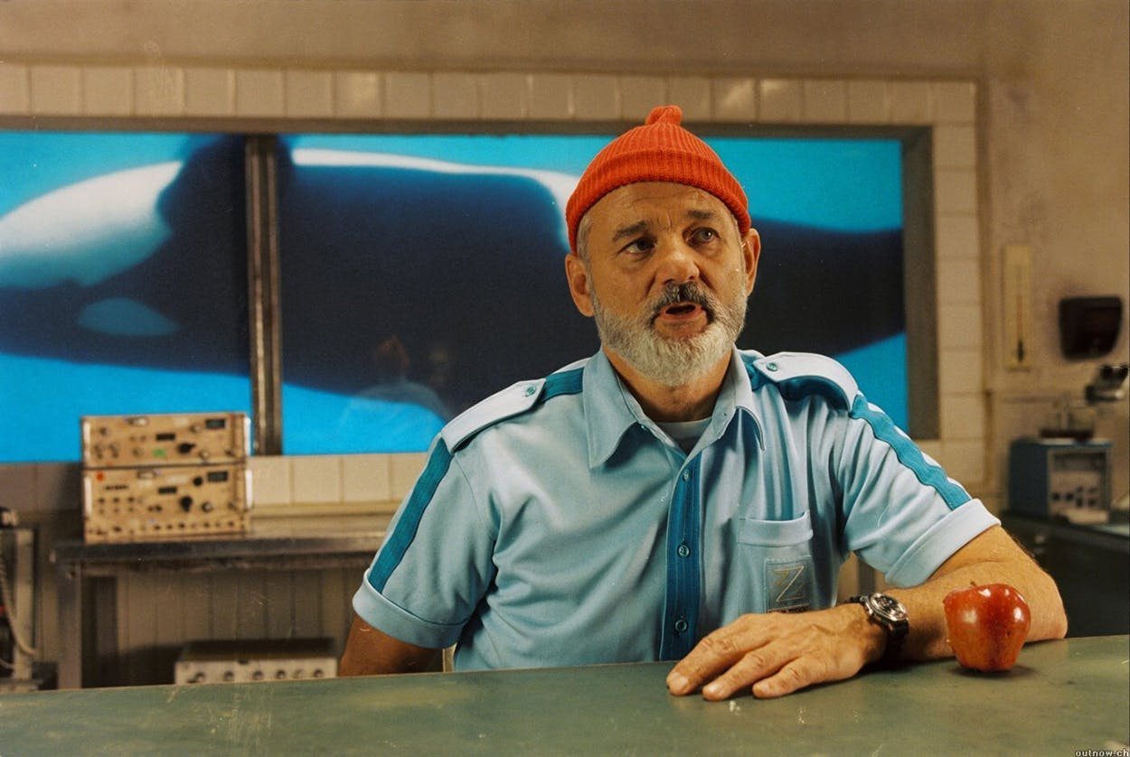 "Bill Murray as the title character in the 2004 film ""The Life Aquatic with Steve Zissou."""