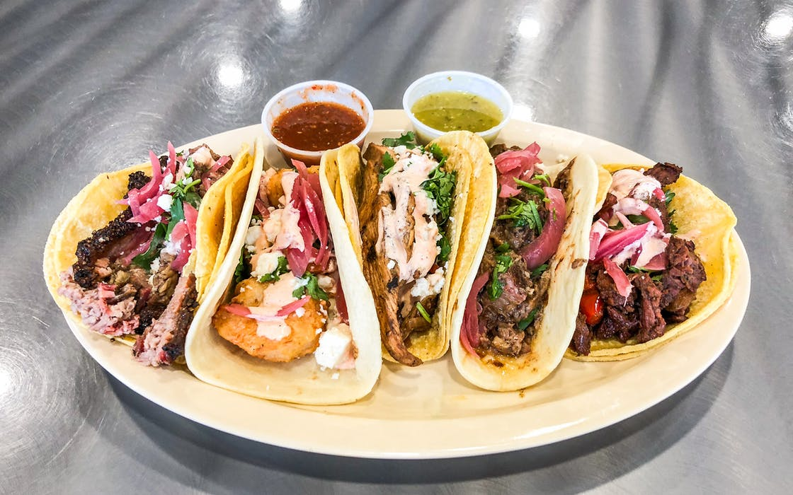 An array of tacos from Tex-Mex BBQ Tuesday at Brotherton's Black Iron Barbecue
