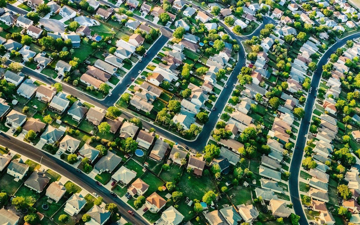 An aerial shot of a suburban neighborhood in San Antonio.
