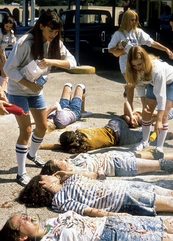 Michelle Burke as Jodi Kramer hazing freshmen girls in 'Dazed and Confused.'
