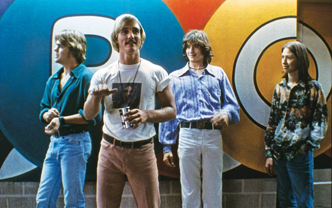 From left: Sasha Jenson, Matthew McConaughey, Jason London, Wiley Wiggins in character in Dazed and Confused (1993).