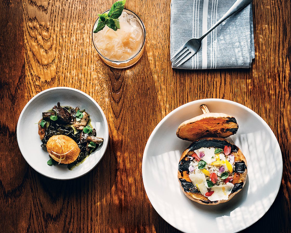 A breaded duck egg with smoked mushrooms, the Oaxaca Smash, and roasted butterkin squash.