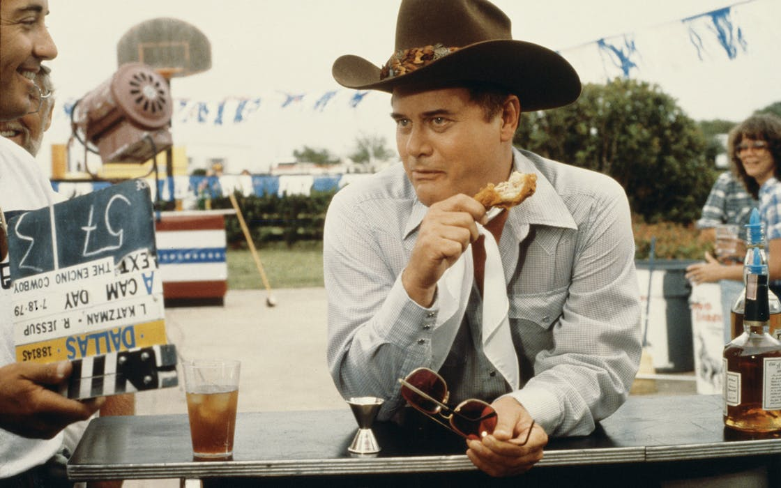 Larry Hagman on the set of Dallas, July 18, 1979.