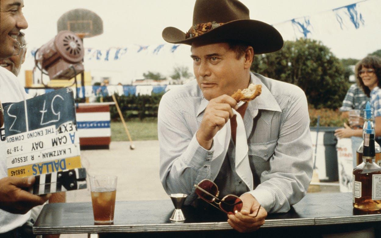 Larry Hagman on the set of Dallas, July 18, 1979.