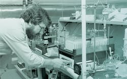 Dr. Jim Allison conducting research at the MD Anderson facility outside Smithville, where he worked from 1977 to 1984.