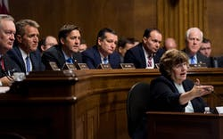 Senators including Ted Cruz and John Cornyn listen as Rachel Mitchell, counsel for Senate Judiciary Committee Republicans, questions Dr. Christine Blasey Ford during the Senate Judiciary Committee hearing on the nomination of Brett Kavanaugh.