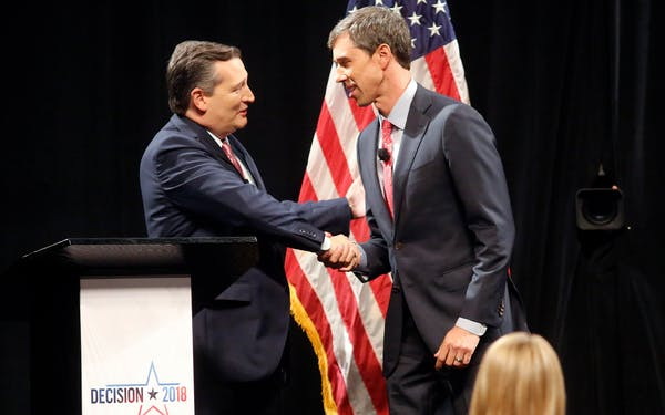 Sen. Ted Cruz (R-TX) shakes hands with Rep. Beto O'Rourke (D-TX) prior to the start of a debate at SMU on September 21, 2018 in Dallas.