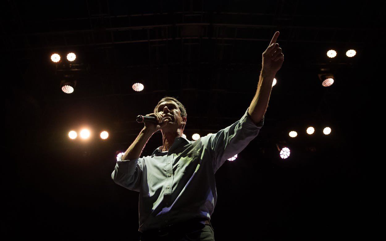 Democratic Senate candidate Beto O'Rourke addresses supporters during a campaign rally at White Oak Music Hall on October 8, 2018 in Houston.