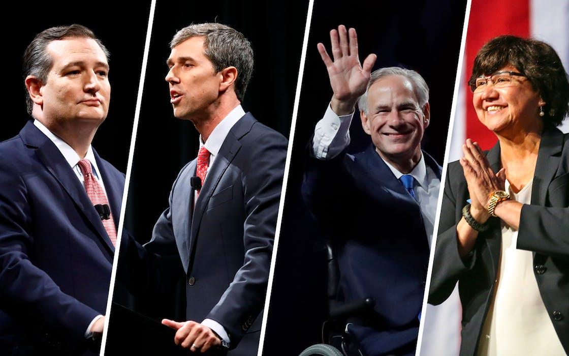 Republican U.S. Senator Ted Cruz, Democratic U.S. Representative Beto O'Rourke, Texas Gov. Greg Abbott and Gubernatorial candidate Lupe Valdez.