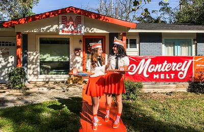 Cheri Horner and Nicole Jensen turned their home into a Whataburger restaurant for their Halloween party.