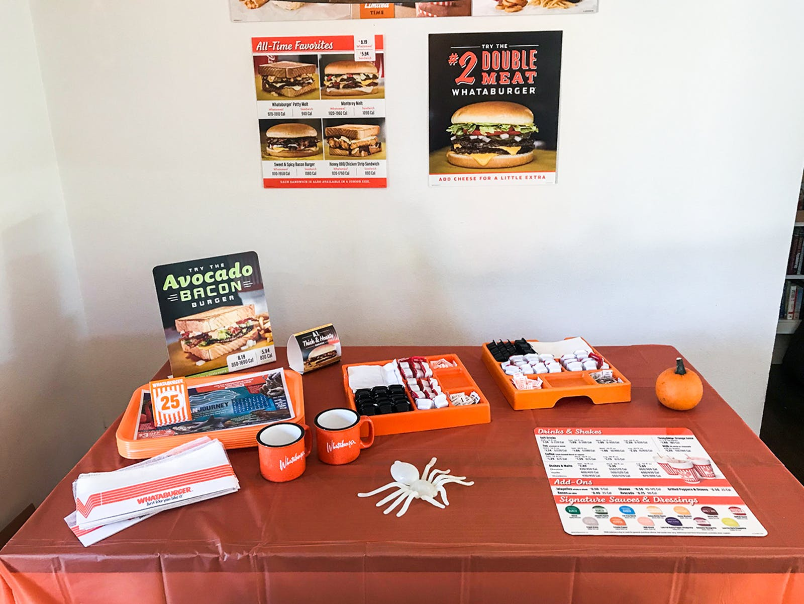 The couple got the help of a local franchise to get authentic Whataburger items like trays and menus for the party.