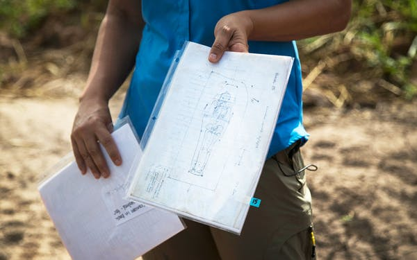 This photo taken July 16, 2018, shows a drawing of one of the burials discovered at the site of the James Reese Career and Technical Center in Sugar Land, Texas.